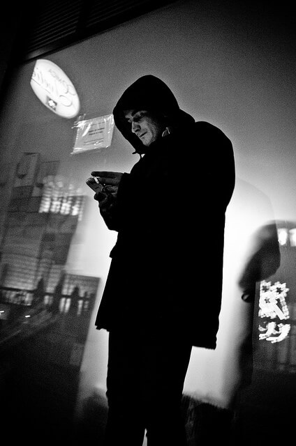 By the Light of His Smartphone